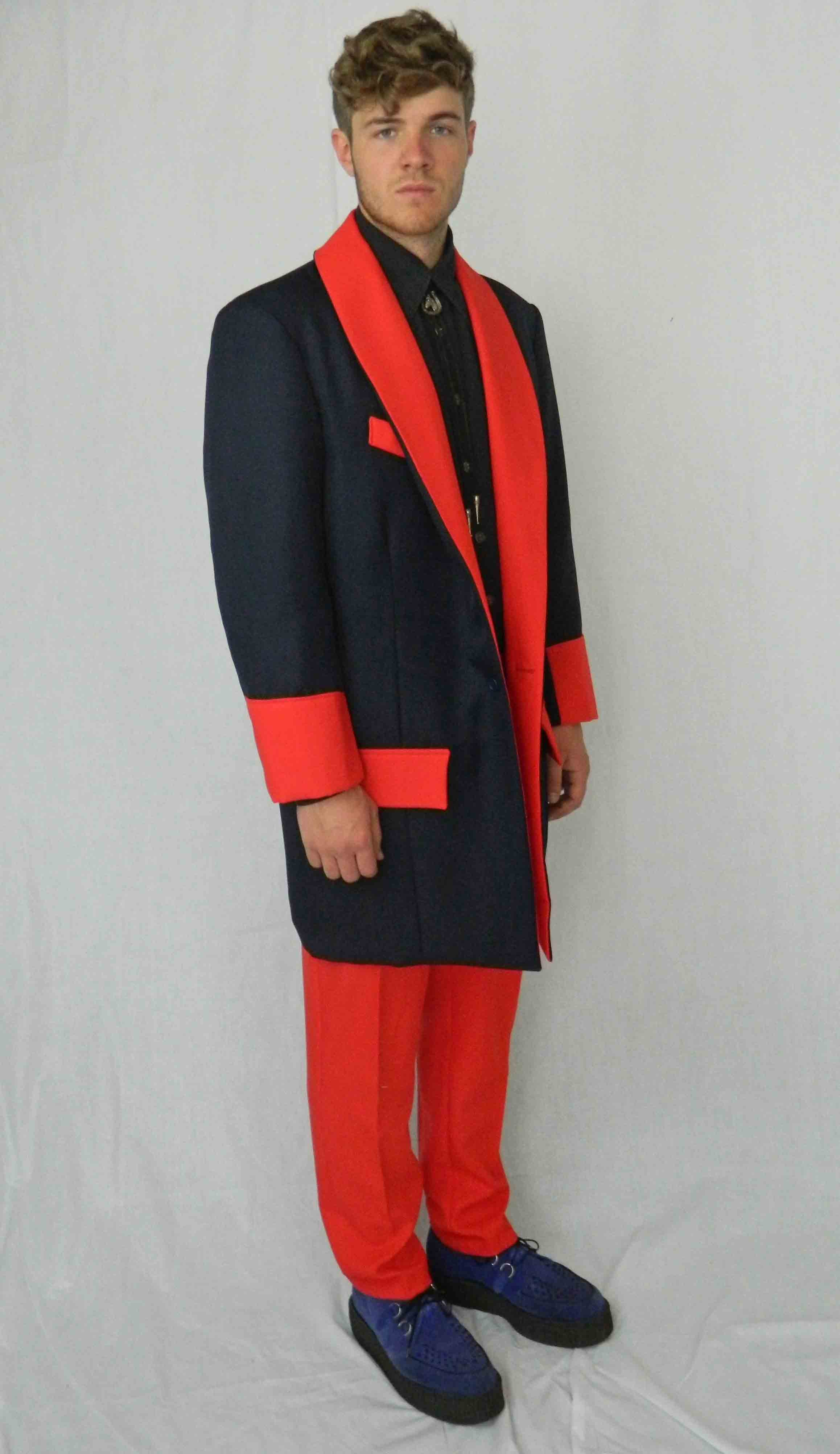 Teddy Boy Deluxe Navy u0026 Red  sc 1 st  Molly Limpetu0027s & 1950s Fancy Dress Quality Costume Hire
