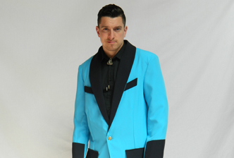 Bespoke teddy boy costume in powder blue