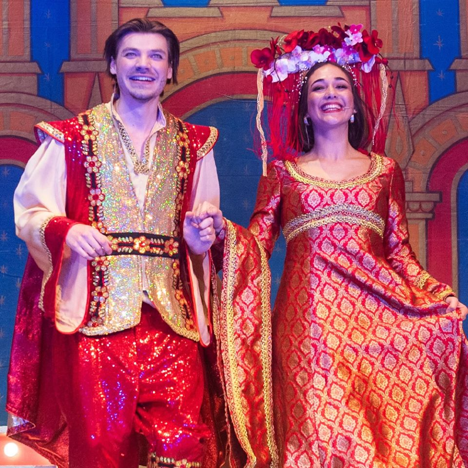 red and gold panto finale costumes
