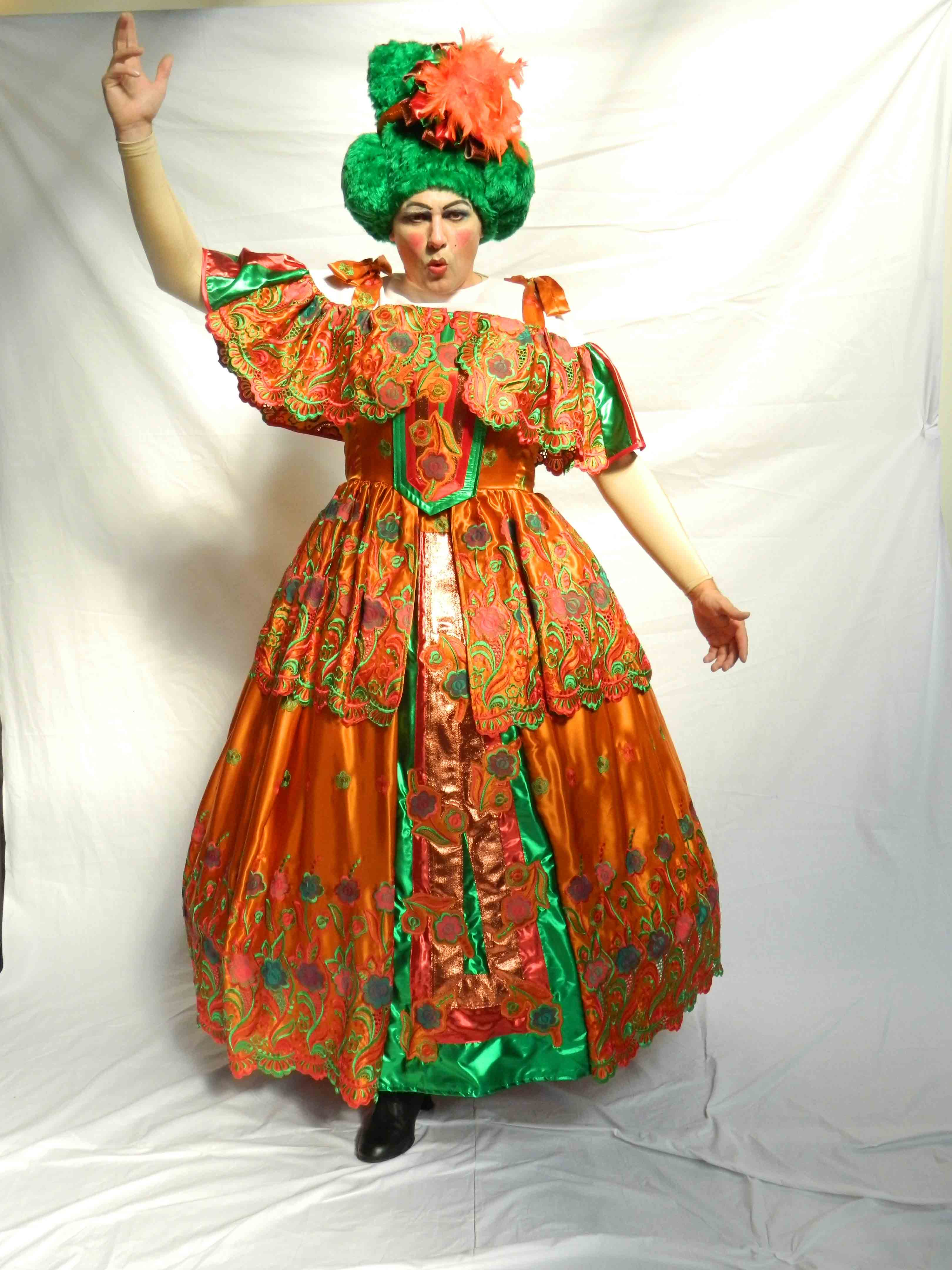 Panto Dame - Orange Green Ballgown