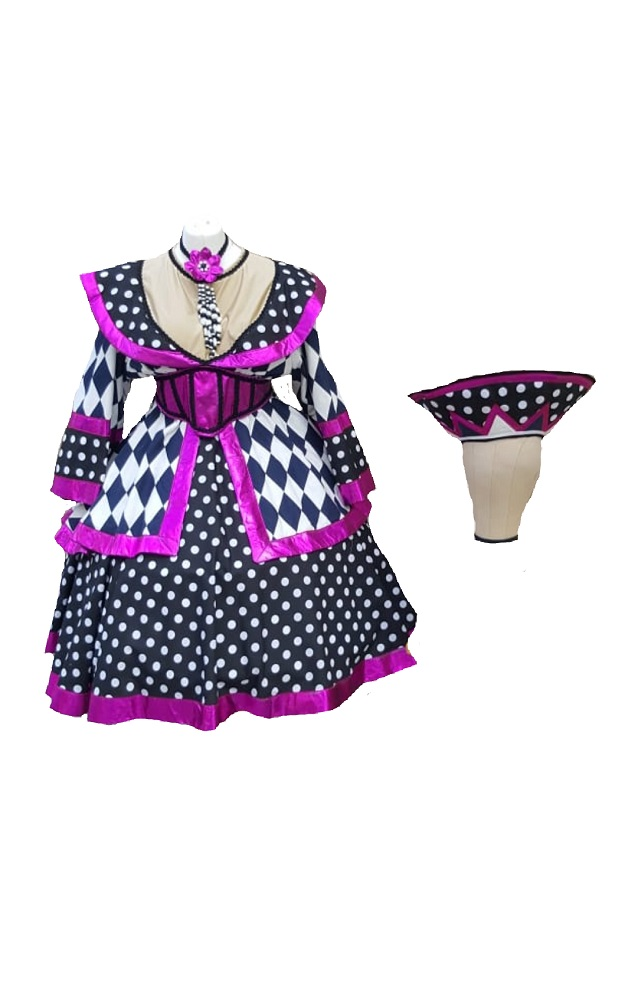 purple harlequin dame costumes