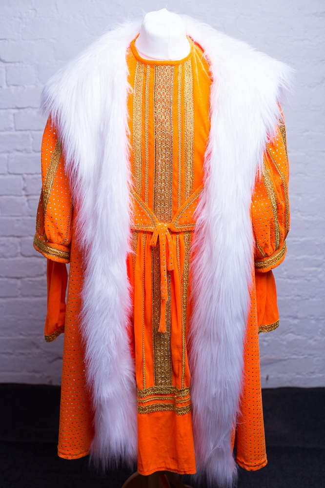 orange and champagne panto costumes