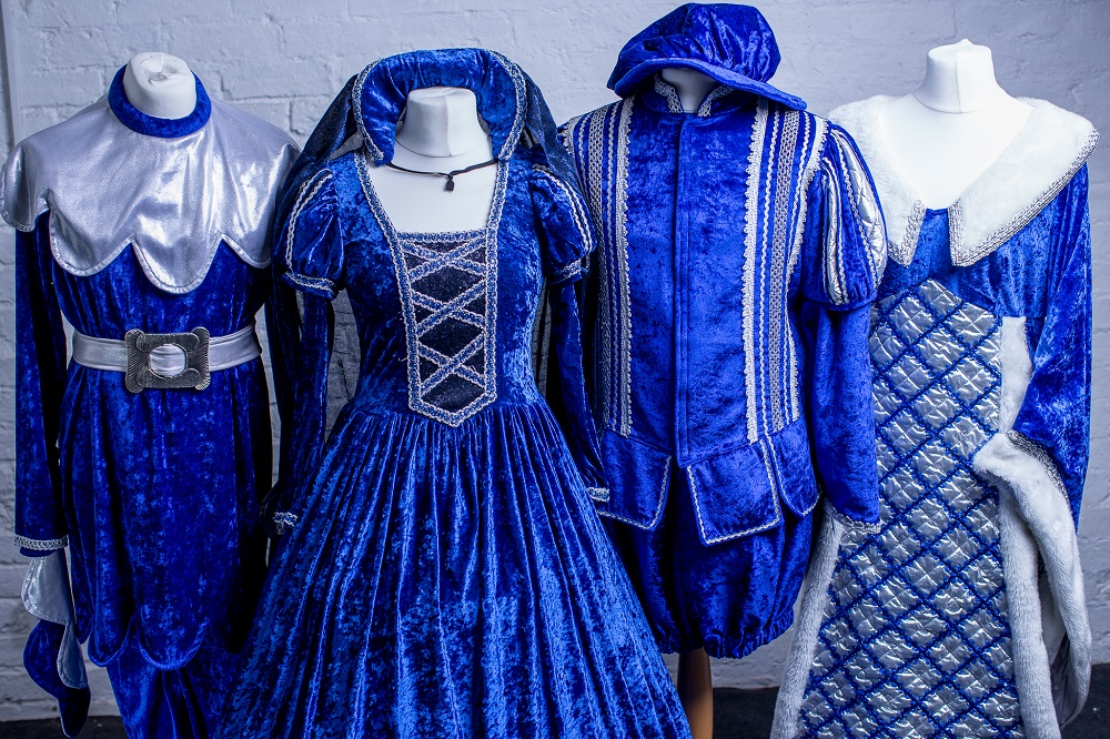 blue and silver panto chorus costumes
