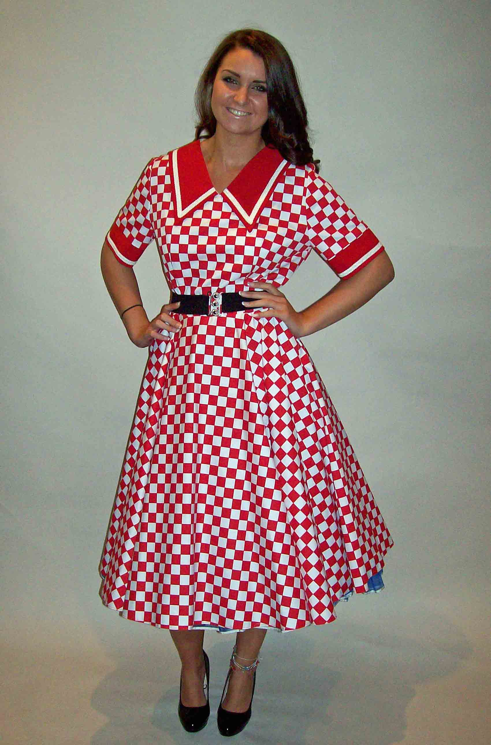 50s Dress Red Check