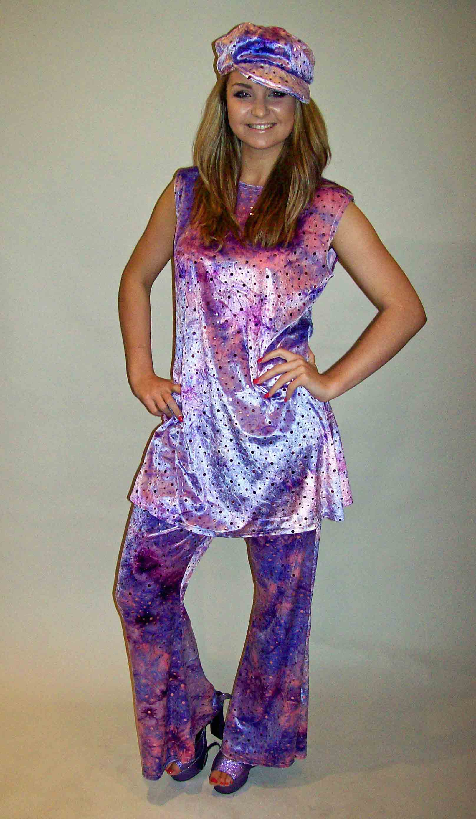 70s Top & Flares - Purple Sequin 01