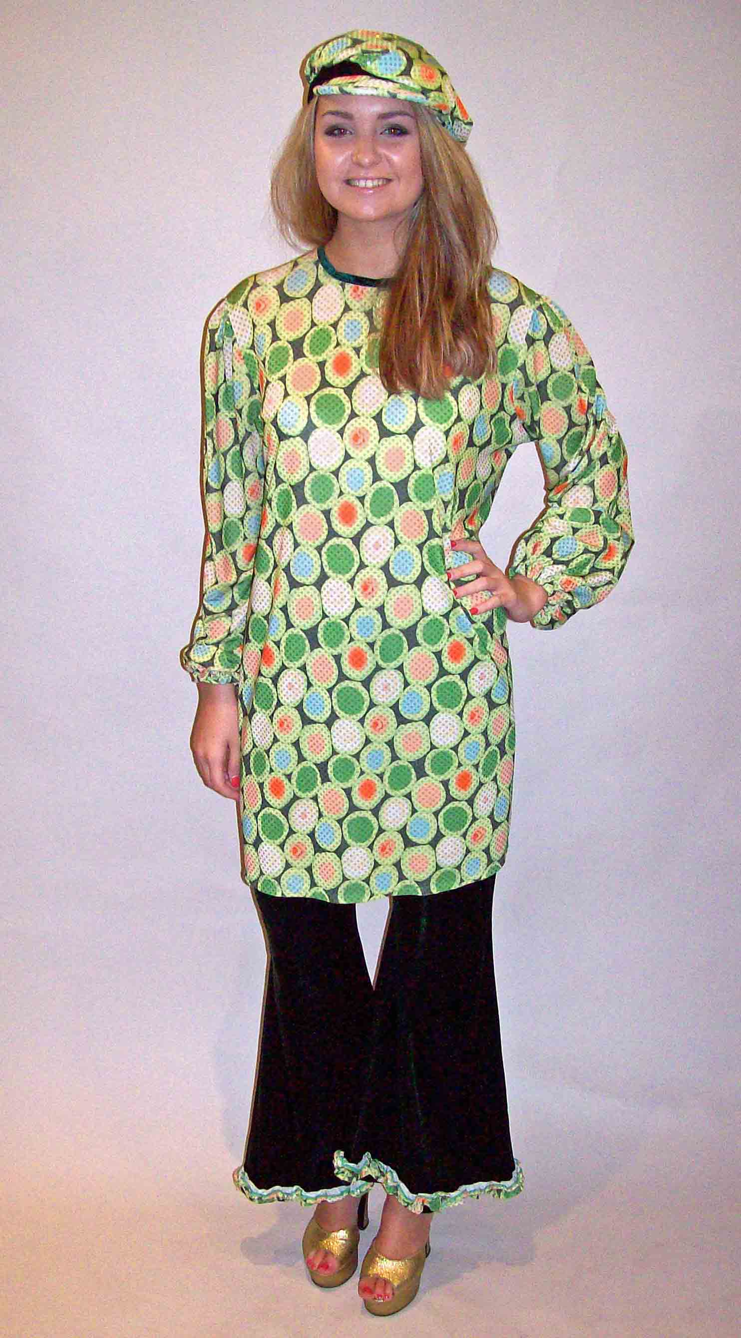 70s Top & Flares - Green Retro